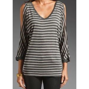 Michael Stars Gray Striped Cold Shoulder Top OS